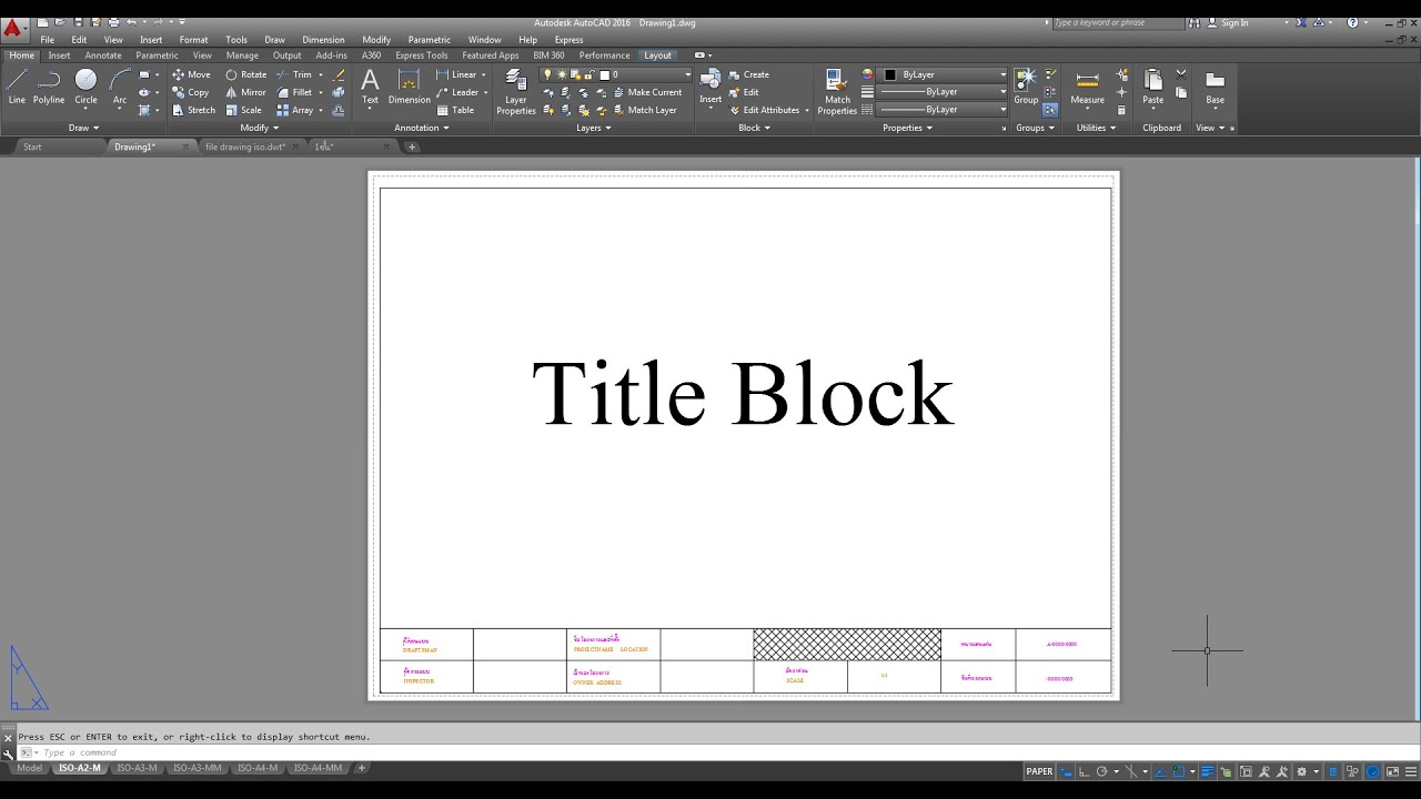 title block in autocad youtube. Black Bedroom Furniture Sets. Home Design Ideas