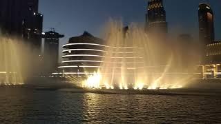 Burj Khalifa , the world greatest water ⛲  show at night - lights , dubai (u.a.e)  15/06/2018