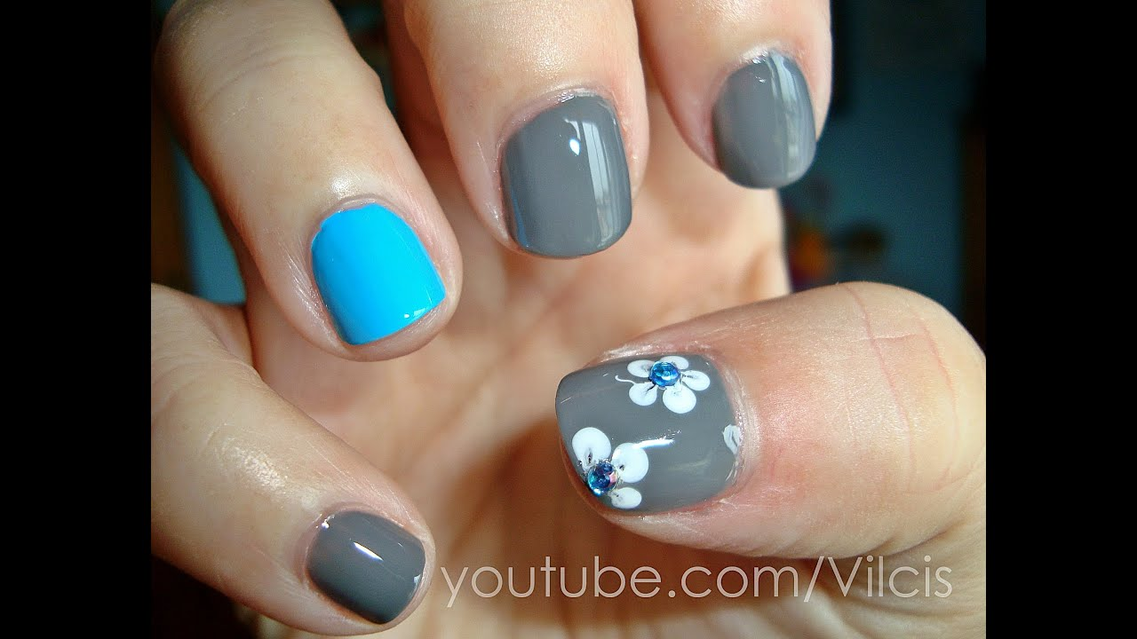 Tutorial f cil u as cortas turquesa y gris easy nail - Unas decoradas faciles ...