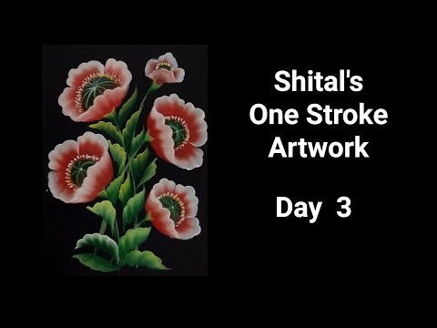 Beginners Guide| Simple Flower In One Stroke Painting  | Day 3