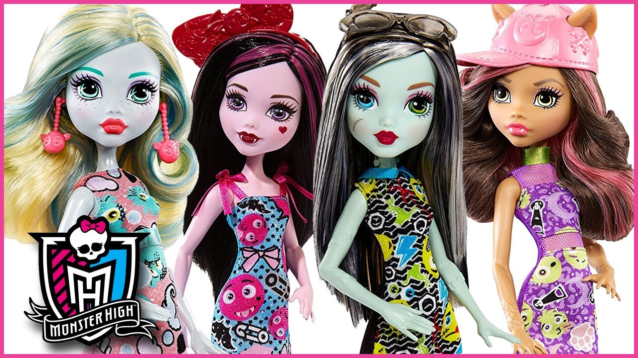 monster high dolls   emoji frankie  draculara  clawdeen