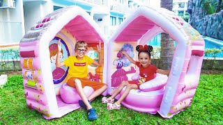 Max and Arina Pretend Play with Princess Carriage and House Inflatable Toy