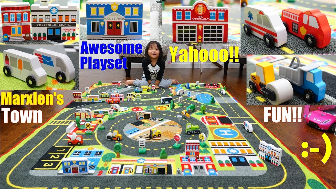 Family Toy Channel: Play Town! Childrenu0027s Play Rug Playtime. Toy Cars And  Toy Trucks. Wooden Toys