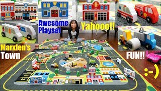 Family Toy Channel: Play Town! Children's Play Rug Playtime. Toy Cars and Toy Trucks. Wooden Toys
