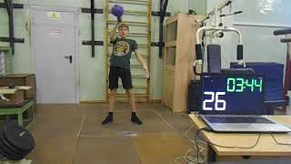 Гиревой спорт. Алексеев Максим 2008 года Рывок гири 12 кг за 5 минут (Спринт) 13.10.2020 года.