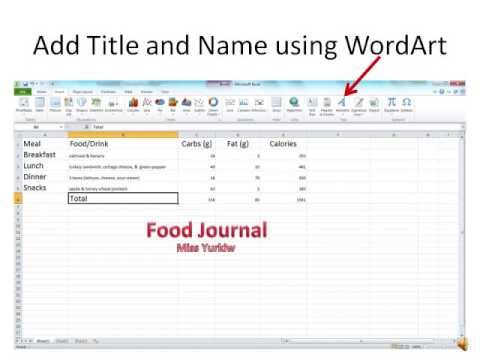 How To Use Microsoft Excel Food Journal Movie