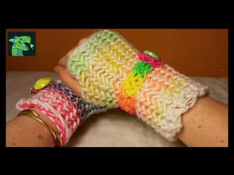 Rainbow loom Fingerless Gloves - rubber bands and Yarn !