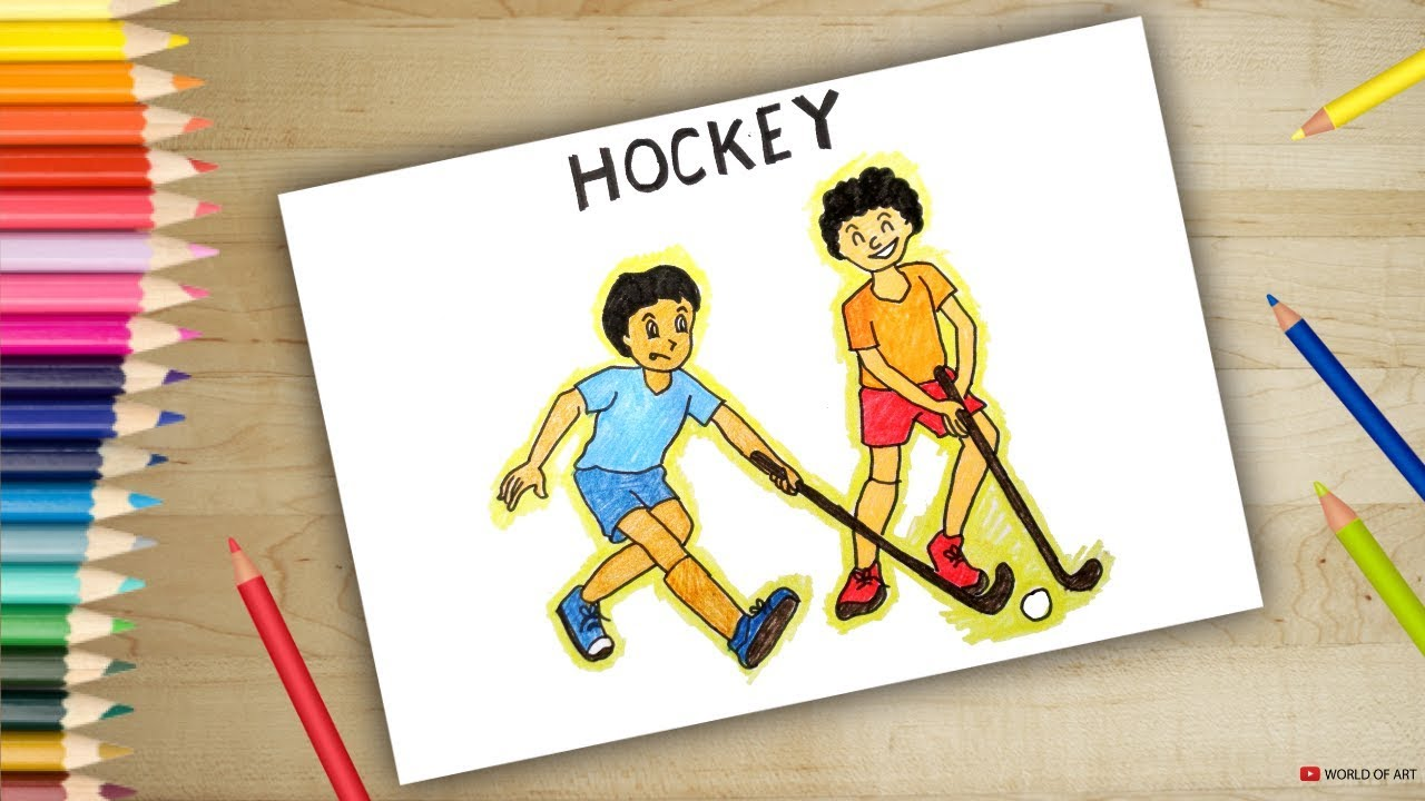 How To Draw Scenery Of Playing Hockey Drawing For Kids Youtube