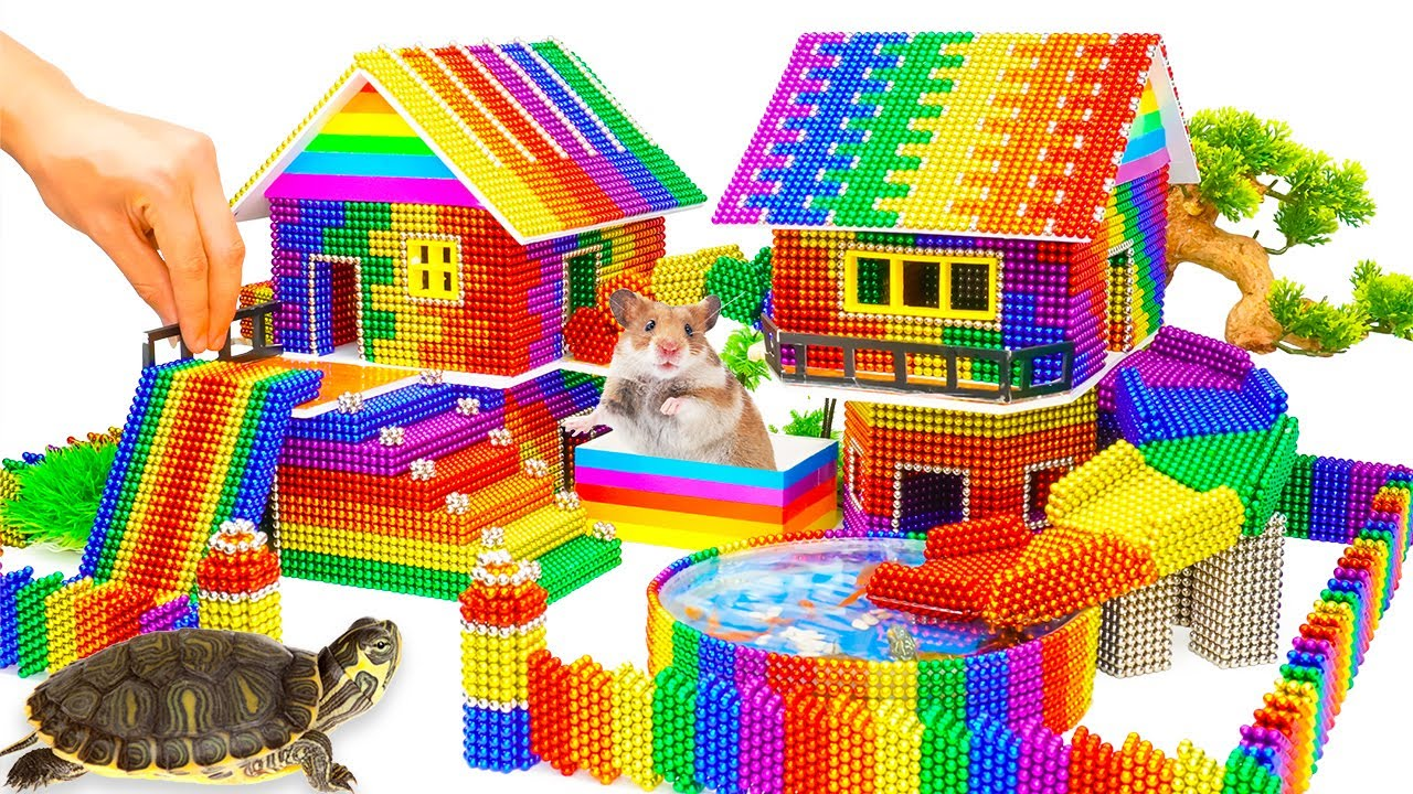 Download DIY - Build Mega Villa House Has Pool Slide For Turtle And Hamster With Magnetic Balls (Satisfying)