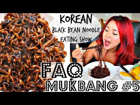 VEGAN MUKBANG #5 - KOREAN BLACK BEAN NOODLES (jjajjaroni) + FAQs ♥ Cheap Lazy Vegan