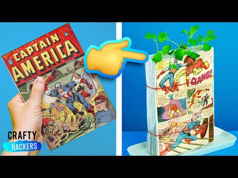 10 WAYS TO RECYCLE COMIC BOOKS | COMIC CON | MARVEL SUPERHERO CRAFTS