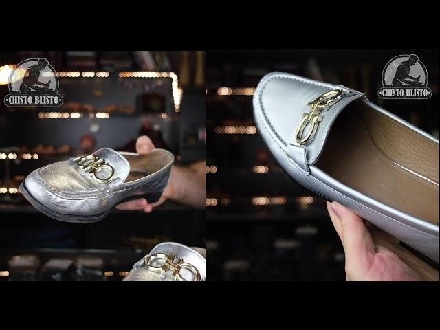Реставрация серебристой обуви
