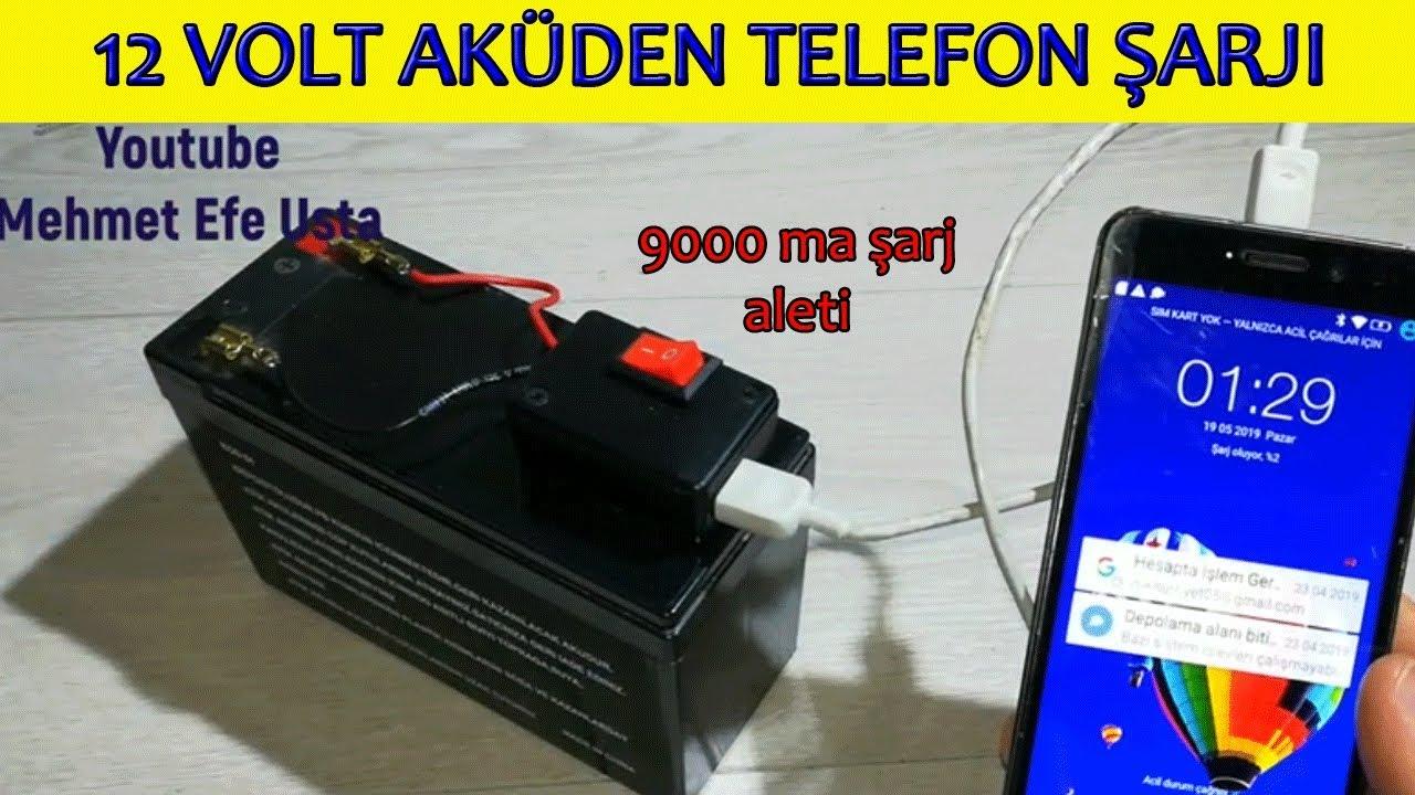 12 Volt Aküden Cep Telefonu Şarjı Nasıl Yapılır (12 Volt 9000 ma şarj cihazı)