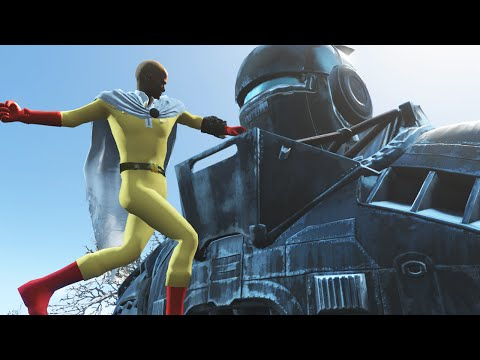 """Fallout 4 Mods """"ONE PUNCH MAN VS LIBERTY PRIME"""" (Fallout 4 One Punch Funny Moments Compilation)"""