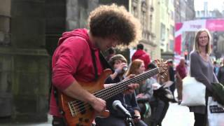 Maximon, amazing bass player @ Edinburgh Fringe Festival 2013