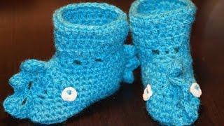 Вязание крючком по схеме - пинетки дракошки  ///  Crochet scheme - booties drakoshki