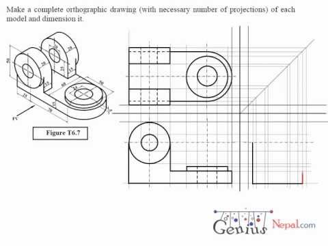 Engineering Drawing Tutorials / Orthographic Drawing solution. (T 6.7)
