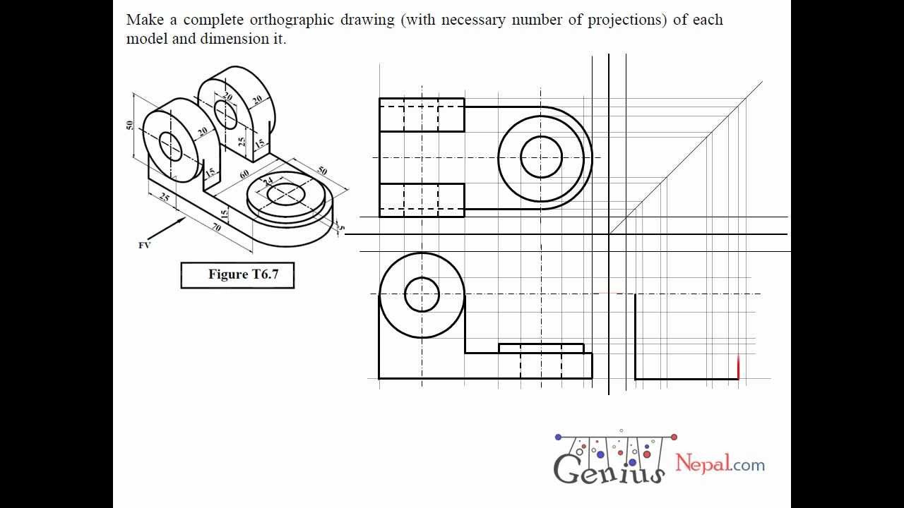 Engineering Drawing Tutorials / Orthographic Drawing solution  (T 6 7)