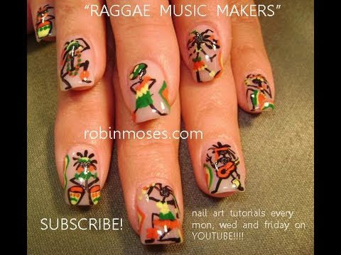 Music maker nail art colorful rasta nails stick people design music maker nail art colorful rasta nails stick people design tutorial youtube prinsesfo Images