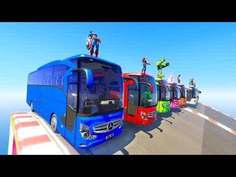 LEARN COLOR BIG BUSES With Superheroes  Fun Cartoon For Kids And Babies