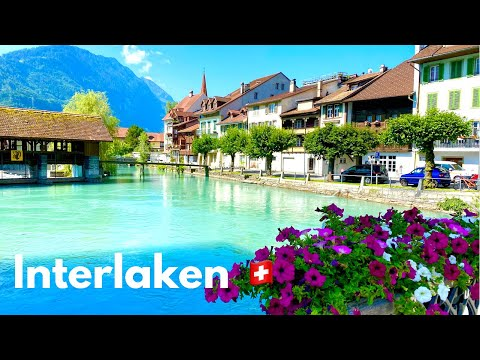 Summer in Interlaken 🏞  Switzerland 🇨🇭   Walking Tour    the City between Lakes and Mountains 