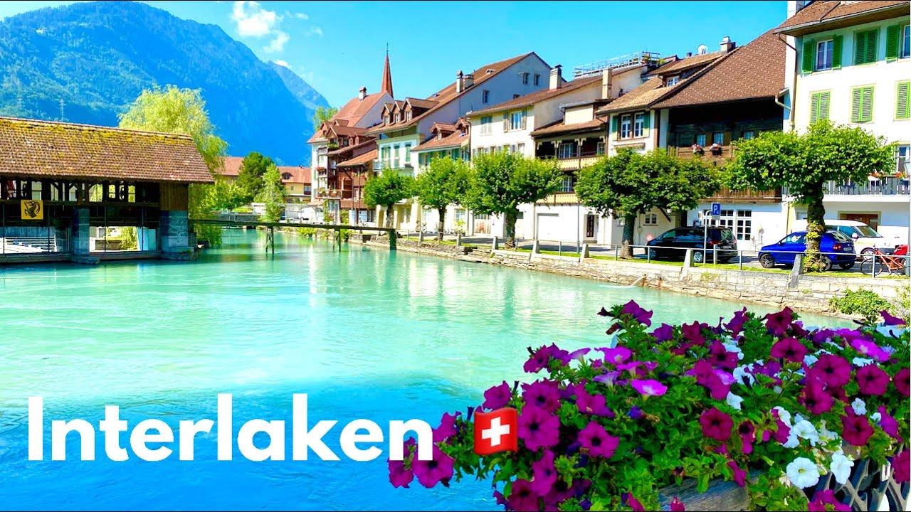 Summer in Interlaken 🏞| Switzerland 🇨🇭 | Walking Tour |  the City between Lakes and Mountains|