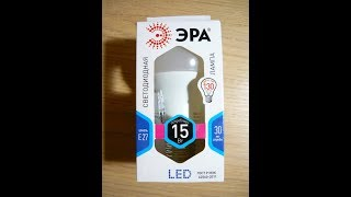 ВИДЕО ОБЗОР Лампа светодиодная ЭРА LED A60 15W 840 E27
