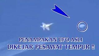 """VIDEO PENAMPAKAN UFO ASLI """"DIKEJAR PESAWAT TEMPUR"""" PENAMPAKAN UFO YANG NYATA DI DUNIA !!"""