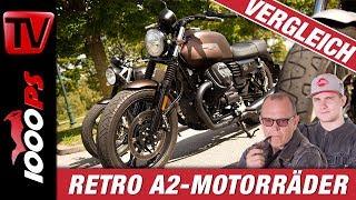48 PS Retrobikes im Test! Royal Enfield Interceptor - Moto Guzzi V7 Night Pack - Triumph Street Twin