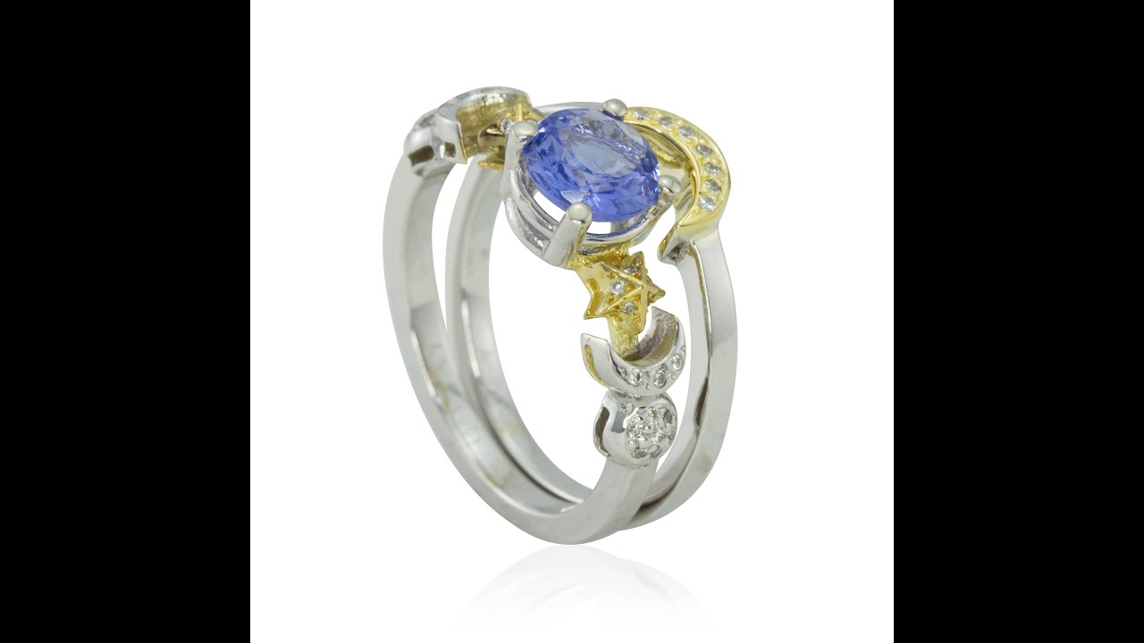 Tanzanite Diamond Earth Crescent Moon Sun and Stars Ring LS2722