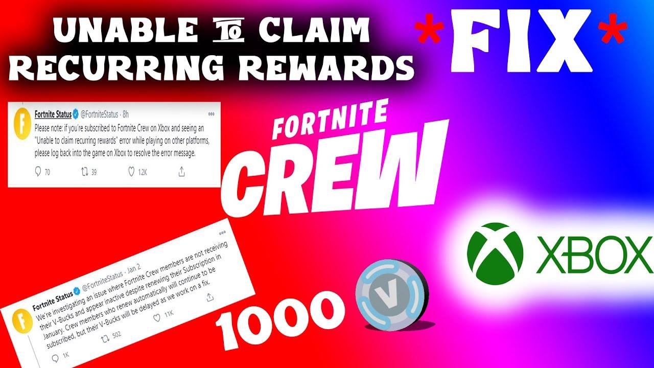Fortnite V Bucks Error How To Claim January Fortnite Crew Pack Vbucks And Unable To Claim Recurring Rewards Xbox Update Youtube