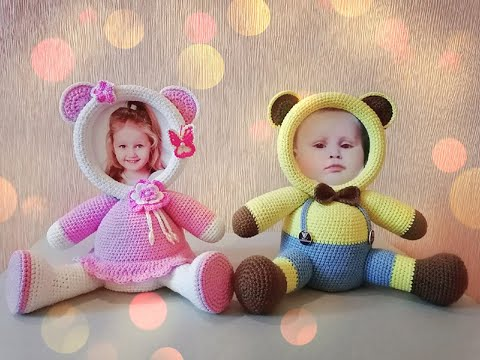 Фоторамки медвежата вязаные крючком амигуруми / Photo frames bear cubs crocheted amigurumi