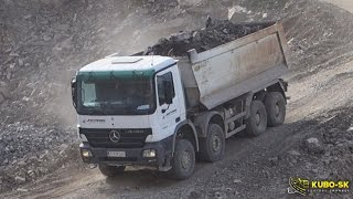 Mercedes Benz Actros dump truck - driving at the quarry