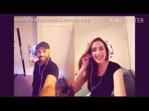 نونيتا تتعلم كلمات عراقيه  من خلال بث مباشر مع مصطفى السامرائي