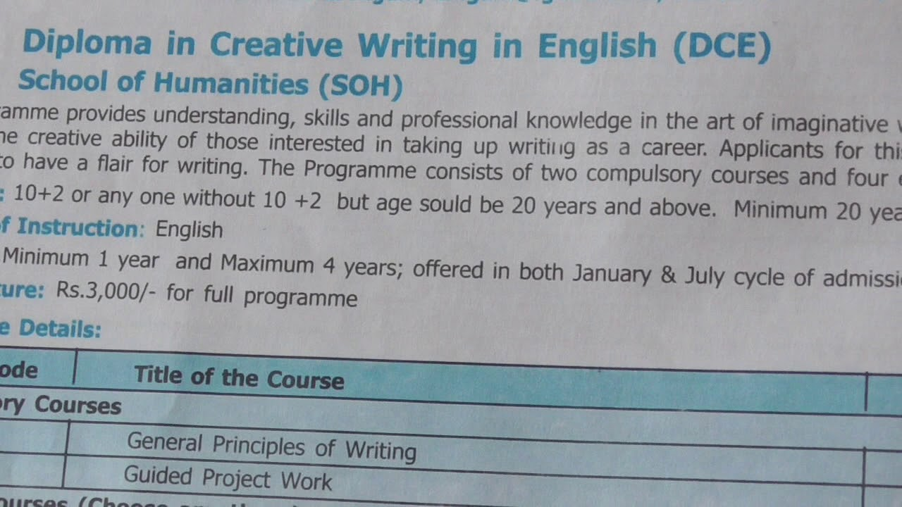diploma in creative writing in english dce ignou