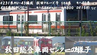 秋田総合車両センターの様子(E231系ケヨMU43編成・ホキ800・583系・キハ28 2010・485系きらきらうえつ・DE15・秋田クルーズ号・キハ40系・701系電車N5編成など)