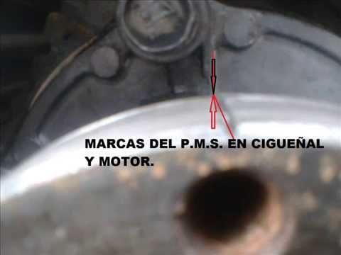Puesta a punto de distribucion en motor diesel con correa dentada.