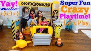 Family Toy Channel: Construction Playset Pretend Playtime. Inflatable Play Tent Playtime Fun!