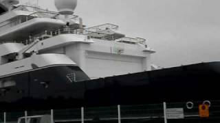 Octobus superyacht and helicopter in Reykjavik harbour/seaport