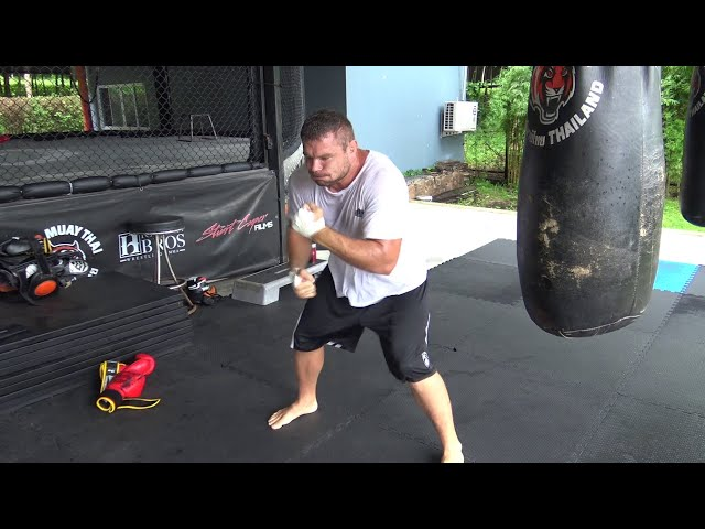 Heavyweight MMA fighter Anatoly Malykhin working his hand speed