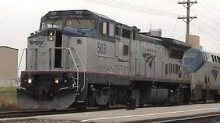 SUPER RARE!! Dash 8 #503 leads Amtrak #6 in Ottumwa, IA 11/18/10