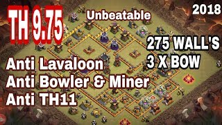New Best TH9.5/9.75 Anti 3 star War Base #10 | 275 wall | CLASH OF CLANS | 2018