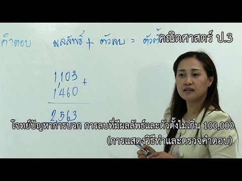 คณิตศาสตร์ ป.3 โจทย์ปัญหาการบวกการลบที่มีผลลัพธ์และตัวตั้งไม่เกิน 100,000 (การแสดงวิธีทำ, ตรวจคำตอบ)