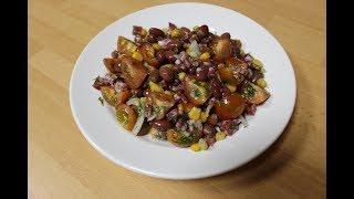 Салат с с/к колбасой, фасолью и кукурузой
