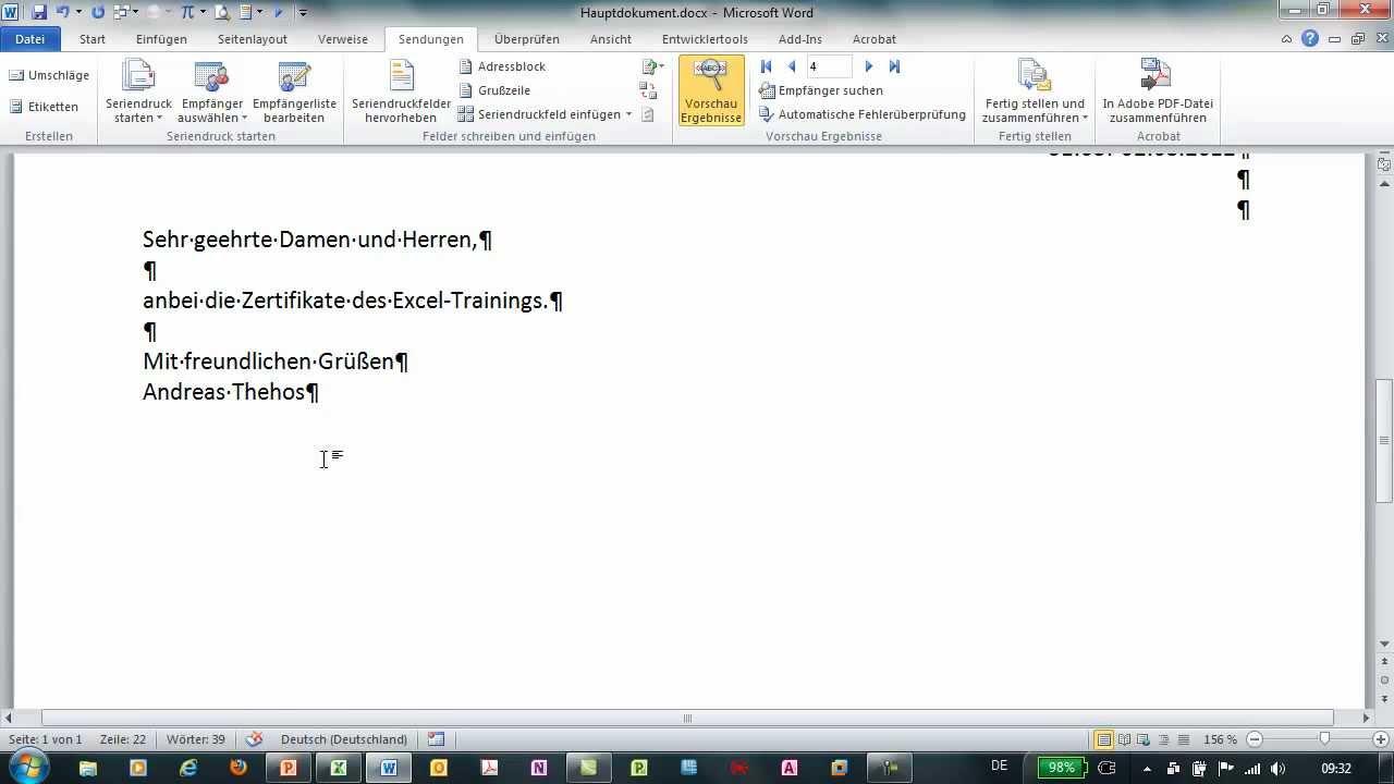 Word - Serienbrief erstellen - Bedingte Seriendruckfelder über Wenn ...