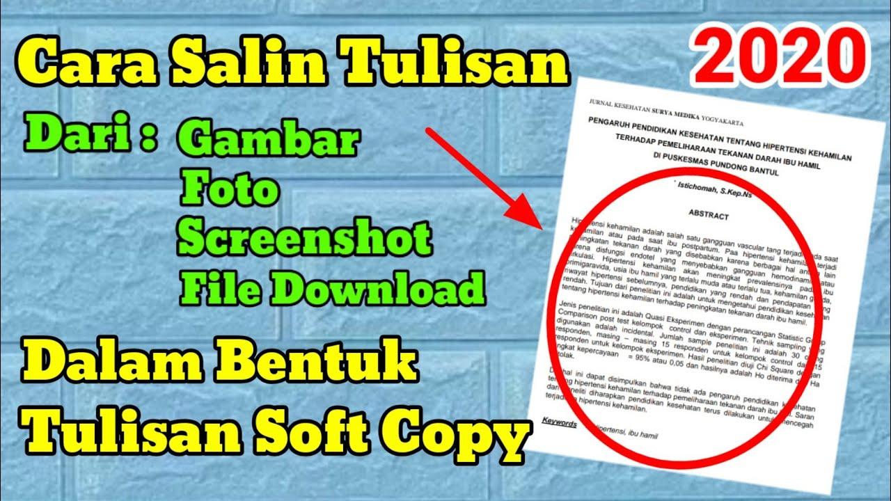 Download Cara Salin Tulisan Dari Gambar Dalam Bentuk Tulisan Soft Copy