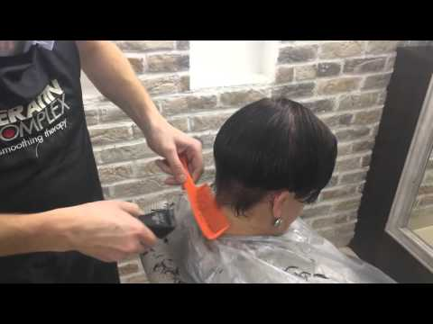 Женская стрижка со сбритым затылком⁄Womens haircut with the back of his head shave