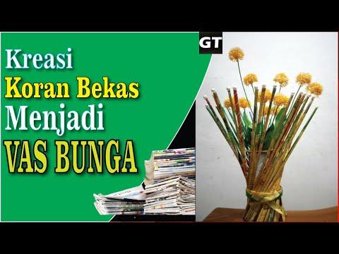 MUDAH   Cara Membuat Vas Bunga Dari Koran Bekas Mudah   KREATIF