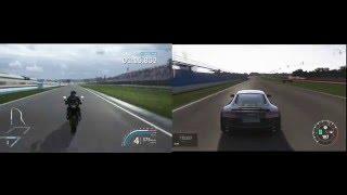 bike vs car PC game - Audi R8 vs Kawasaki Z800, Donington park