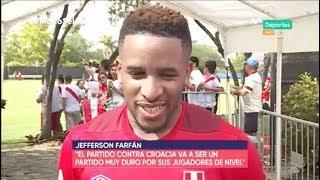 Jefferson Farfán bromeó a Christian Cueva en el primer entrenamiento de Perú